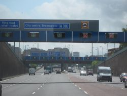 A38(M) For Birmingham - Near The End, Birmingham Skyline - Geograph - 1291182.jpg