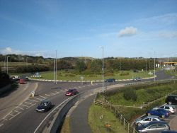 Roundabout on the A30 at Loggans Moor - Geograph - 1017255.jpg