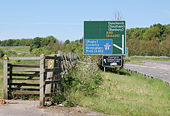 Footpath signs in profusion at the A45 - Geograph - 1324582.jpg