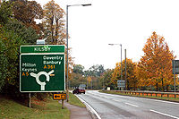 Approaching the roundabout on the A5 at Kilsby - Geograph - 1545154.jpg