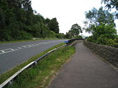 A6013 (Ashopton Road)- Approaching Ladybower Reservoir dam wall entrance - Geograph - 859934.jpg
