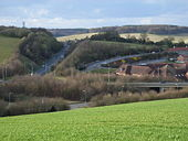 Amersham Hospital and the A413 cutting and flyover.jpg
