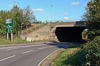 The A14 passes under the M1 - Geograph - 594152.jpg