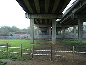 A34 Wolvercote Viaduct underneath looking south with main Oxford railway line. - Coppermine - 16236.jpg