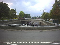 Kingston Bypass (A3) passing under Malden Road (A2043) at Malden Junction - Geograph - 32366.jpg