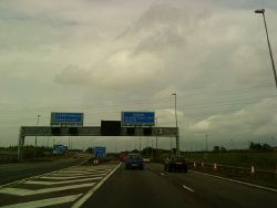 On the M42 crossing the M6 Toll road - Geograph - 1888012.jpg