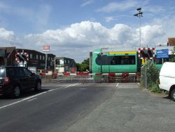Level crossing at Ford station - Geograph - 1907504.jpg