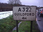 A322 sign in Worplesdon, Surrey - Coppermine - 21369.JPG