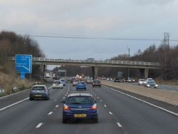 The M1 northbound towards junction 35A - Geograph - 3803666.jpg