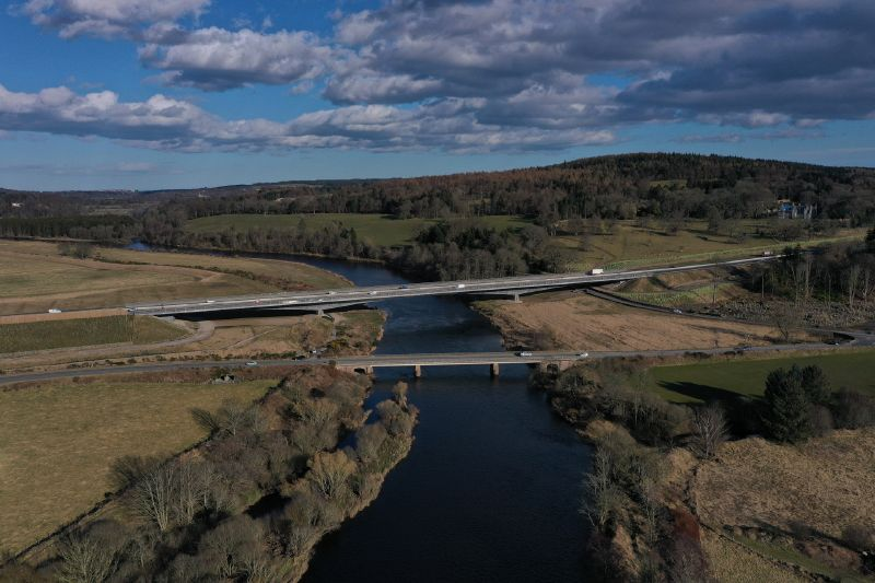 File:A90 AWPR - River Dee crossing and Maryculter Bridge - aerial from W.jpg