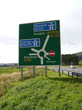 A702, M74 and A74(M) Road sign.jpg