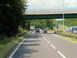 Bridge (B6403) Over the A1 at Woolsthorpe-by-Colsterworth - Geograph - 4219386.jpg