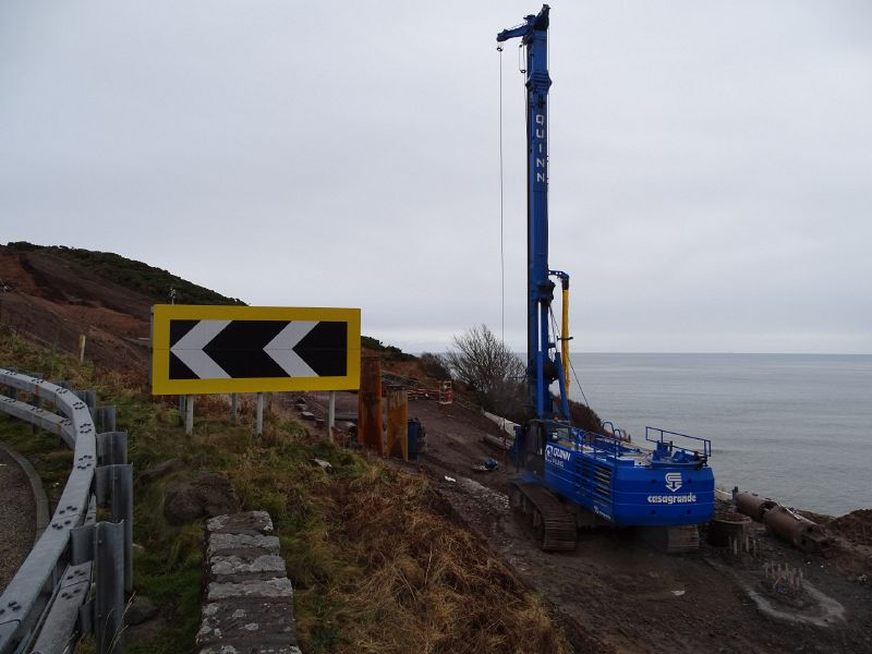 File:A9 Berriedale Braes Improvement - November 2019 piling rig from hairpin.jpg