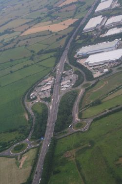Rothersthorpe Services on the M1 by Northampton- aerial 2014 - Geograph - 4054641.jpg