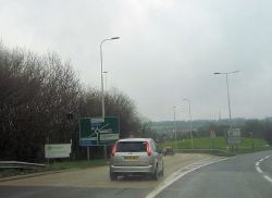 Slip road from A3 south at Stag Hill - Geograph - 2863638.jpg