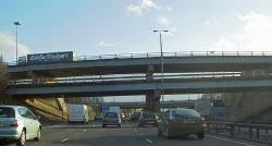 Stopped on the M1 Lofthouse interchange the bridges carry the M62 - Geograph - 722126.jpg