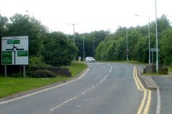 Approaching Tarrell Roundabout, Brecon - Geograph - 3020141.jpg