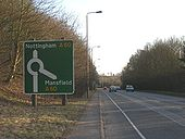 A614 approaching Red Hill Roundabout - Geograph - 1760116.jpg