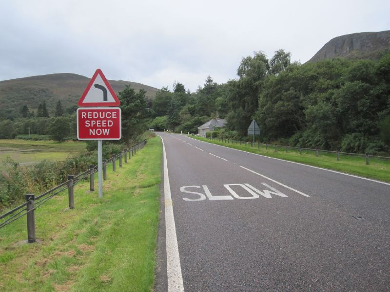 File:A9 The Mound - Bend, reduce speed now.jpg