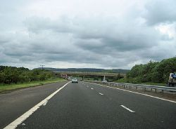 Approaching the A8 Greenock Road overbridge - Geograph - 2416426.jpg