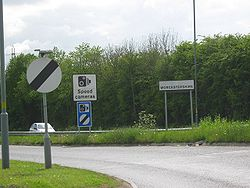 Worcestershire County Border, A435 at The Maypole Island - Geograph - 1283556.jpg