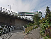 Footpaths and gantry, Windsor Quay - Cardiff - Geograph - 1468917.jpg
