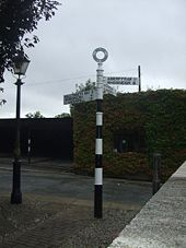 Roadsign at former Pentre Berw station - Geograph - 1443909.jpg