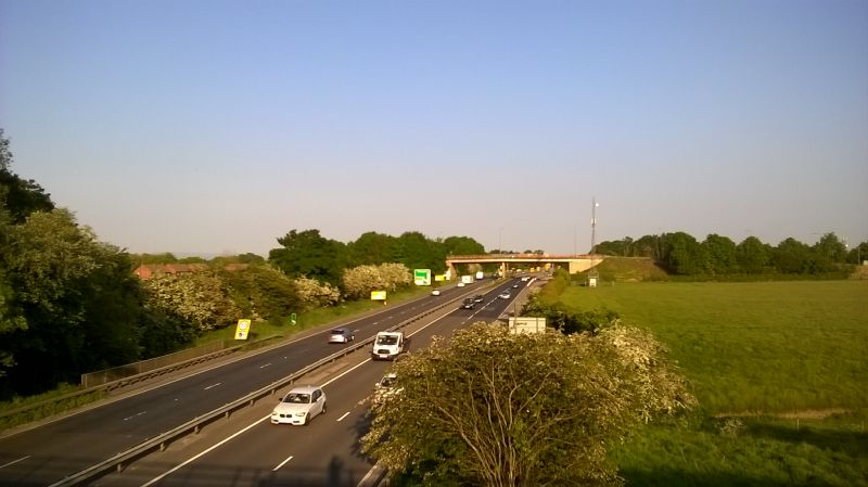 File:20160605-1933 - View south from Tunstall Road Bridge of old A1 - 54.3720976N 1.6365024W.jpg