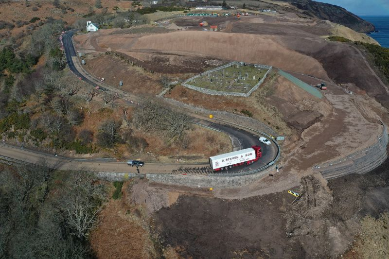 File:A9 Berriedale Braes Improvement - March 2020 construction aerial from South.jpg