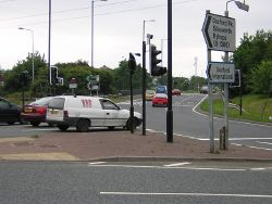 A19 roundabout entrance to Doxford International - Geograph - 199723.jpg