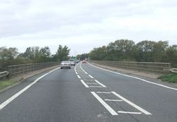 Road bridge over the Severn approaching Alney island roundabout - Geograph - 1541119.jpg