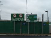 A12 eastbound slip road Temple Mills with signage Coppermine.JPG