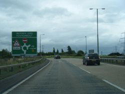 A50 approaches Warren Lane roundabout - Geograph - 3596626.jpg