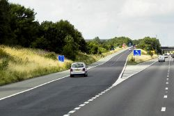 Northbound M1, Exit Sliproad at Junction 37 - Geograph - 4841061.jpg