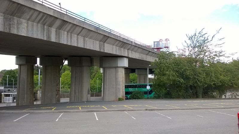 File:20200705-1112 - Huntingdon Viaduct being removed (looking north from the east side of the viaduct) 52.329241N 0.191221W.jpg
