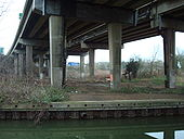 A34 Volvercote Viaduct underneath looking north, the cross traffic in the back ground is the A40 - Coppermine - 16238.jpg