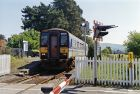 Ammanford station, 1994 with train (C) Ben Brooksbank - Geograph - 3232782.jpg