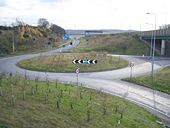 Roundabout on M2 offramp-onramp - Geograph - 1053865.jpg